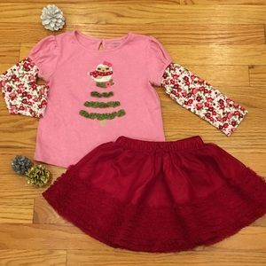 Gymboree Christmas Tree Owl & Tulle Skirt 3T